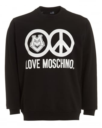 Mens Love and Peace Circles Sweatshirt, Regular Fit Black Sweat