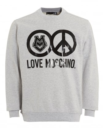 Mens Love and Peace Circles Sweatshirt, Regular Fit Grey Sweat