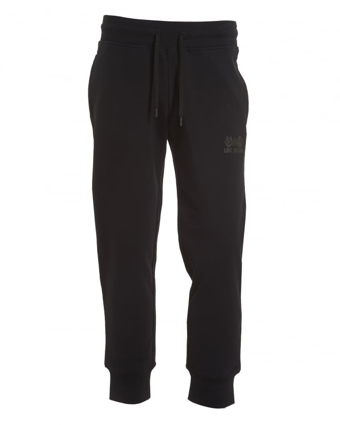 Love Moschino Mens Love And Peace Graphic Trackpants, Slim Fit Black Sweatpants