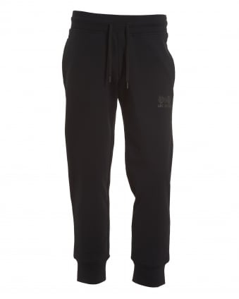 Mens Love And Peace Graphic Trackpants, Slim Fit Black Sweatpants