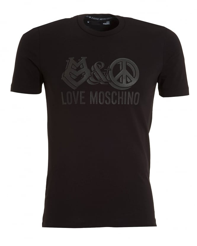 Love Moschino Mens Love And Peace Print T-Shirt, Slim Fit Black Tee