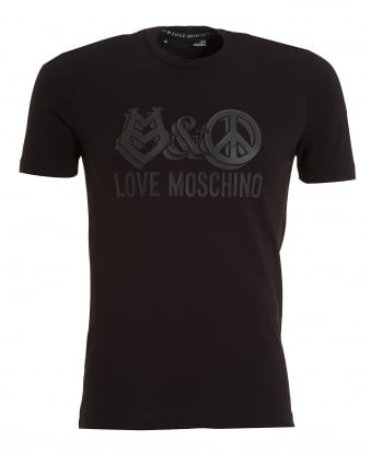 Mens Love And Peace Print T-Shirt, Slim Fit Black Tee