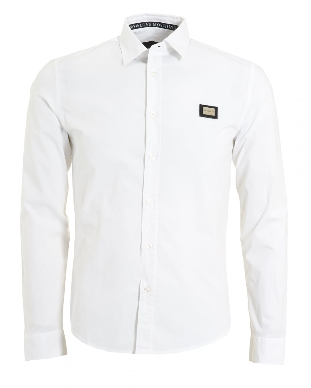 fec5948def7d Love Moschino Mens Metal Badge Logo Shirt, Poplin White Shirt