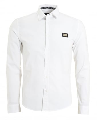 Mens Metal Badge Logo Shirt, Poplin White Shirt