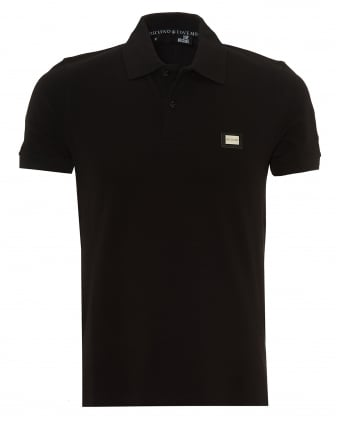 Mens Metal Badge Polo Shirt, Slim Fit Black Polo