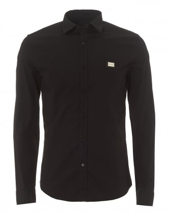 Mens Metal Chest Badge Slim Fit Black Shirt