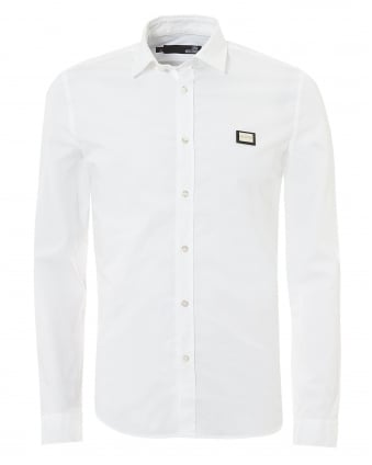 Mens Metal Chest Badge Slim Fit White Shirt