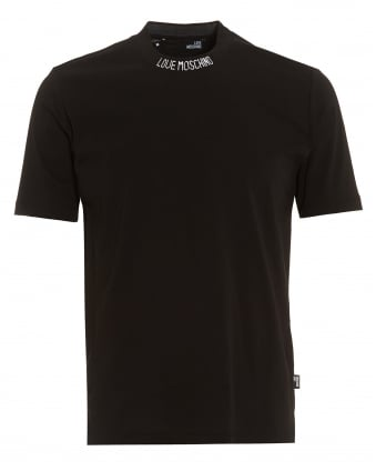 Mens Neck Logo T-Shirt, Basic Plain Regular Fit Black Tee