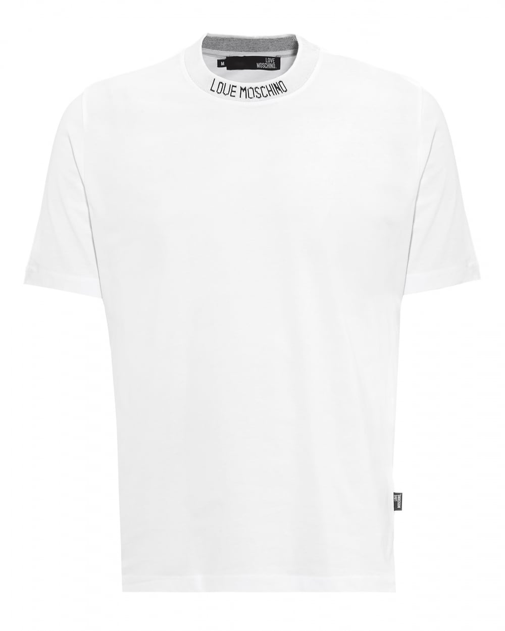 love moschino mens neck logo tshirt plain regular fit