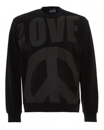Mens Oversized Peace Sign Logo Sweatshirt, Crew Neck Black Jumper