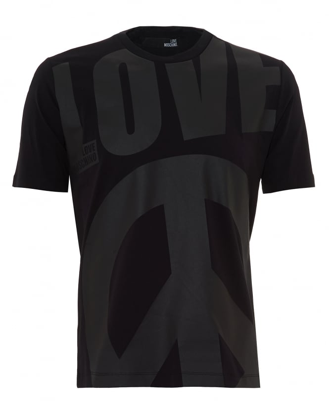 Love Moschino Mens Oversized Peace Sign T-Shirt, Regular Fit Black Tee