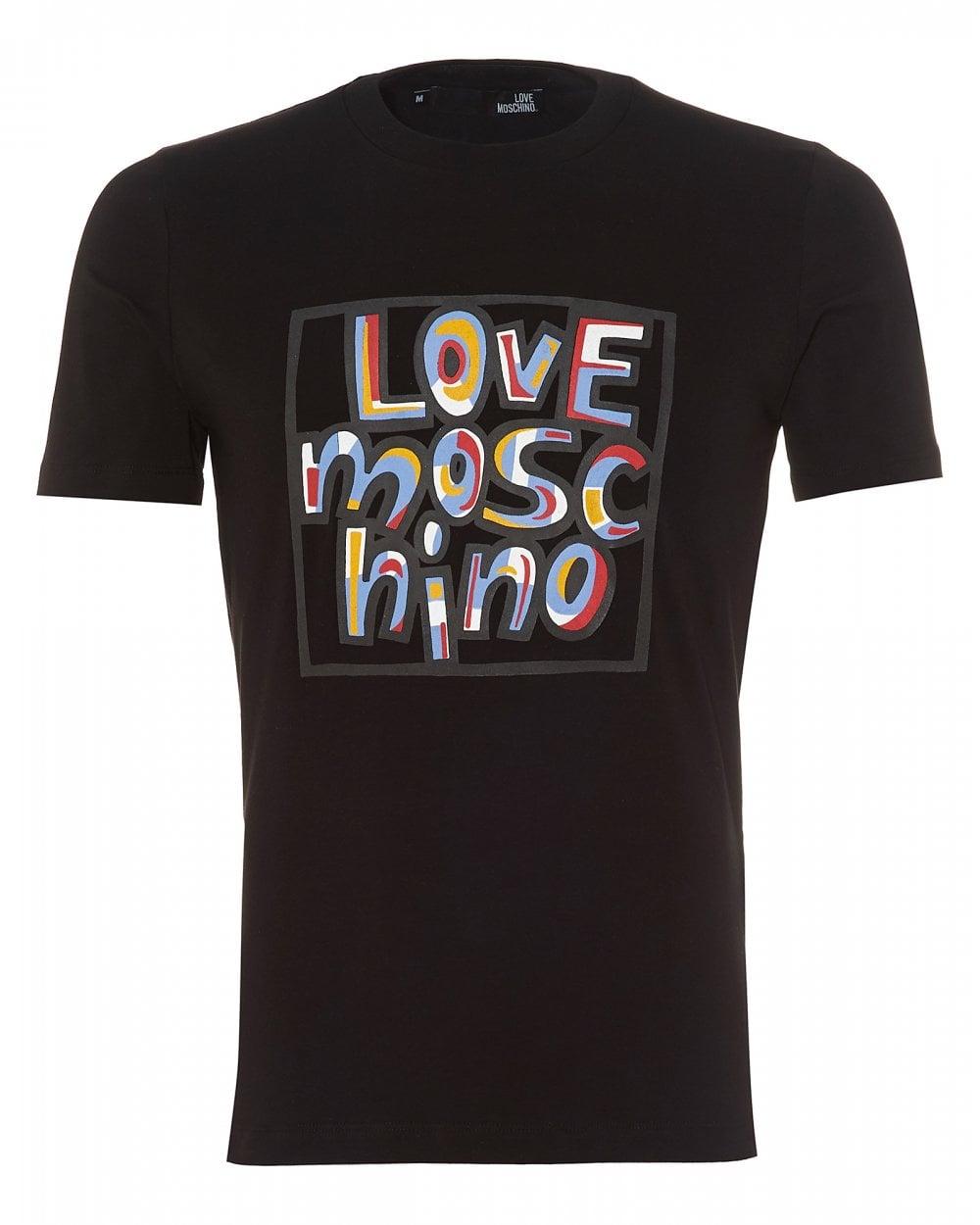 3d97211b30b74 Love Moschino Mens Paint Effect T-Shirt, Slim Fit Black Tee