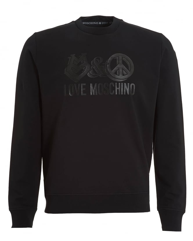 Love Moschino Mens Peace And Love Graphic Sweatshirt, Regular Fit Black Jumper