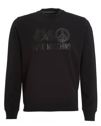 Mens Peace And Love Graphic Sweatshirt, Regular Fit Black Jumper