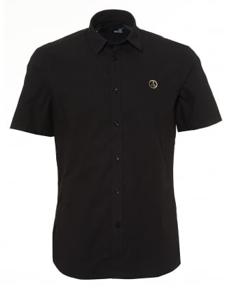 Mens Peace Metal Chest Badge Short Sleeve Black Shirt