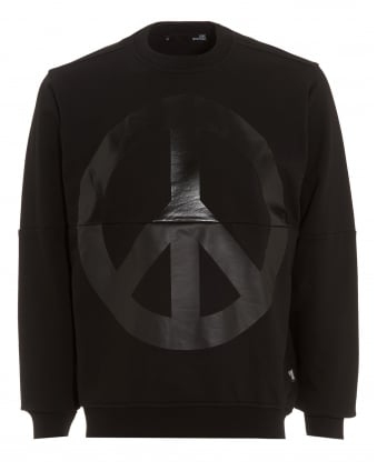 Mens Peace Sign Sweatshirt, Regular Fit Black Sweat