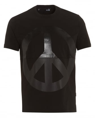 Mens Peace Sign T-Shirt, Rubberised Graphic Black Tee