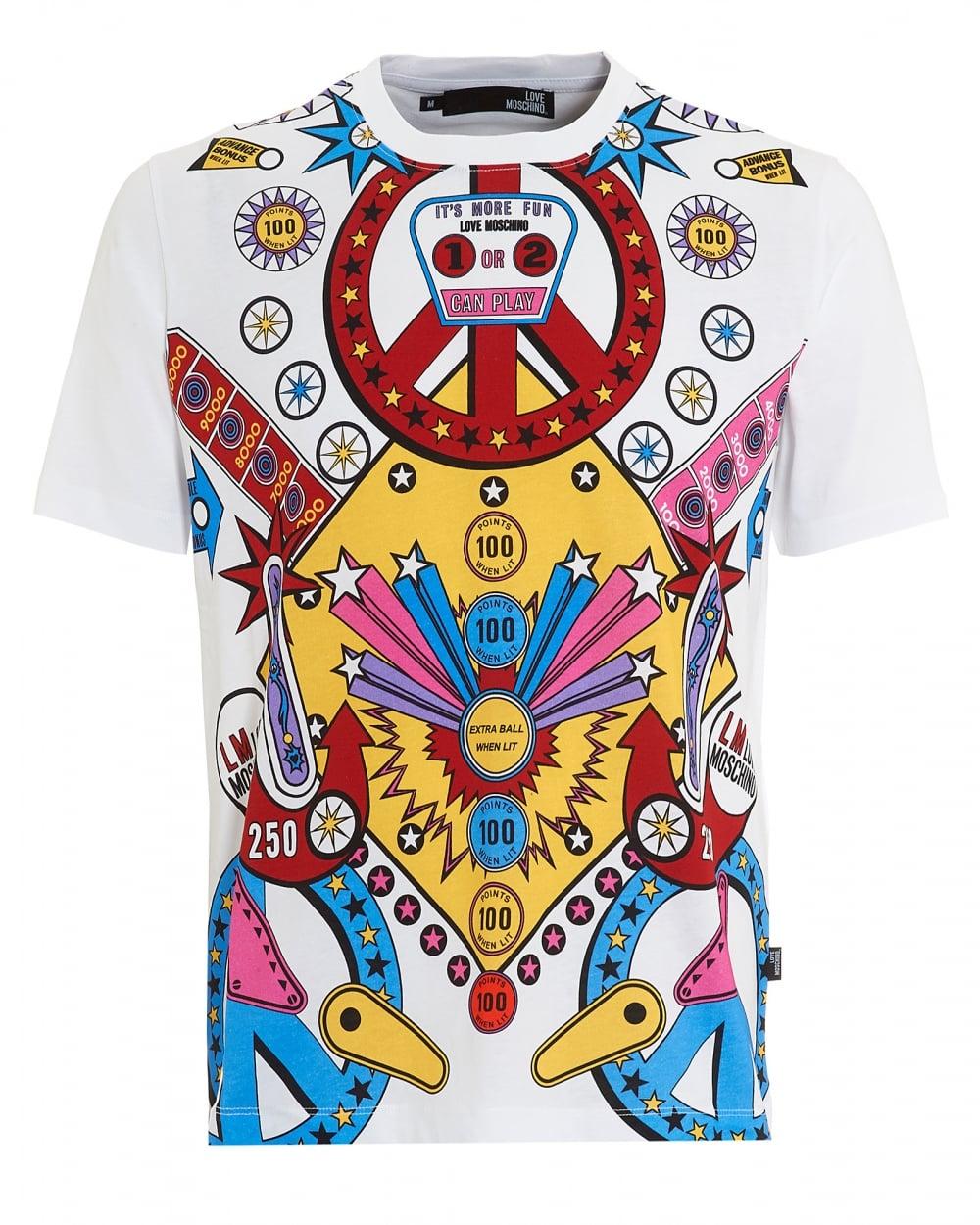 Love Moschino Mens Pinball T Shirt Graphic Print Regular