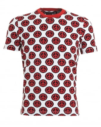 Mens Pixelated Peace Sign Print T-Shirt, Slim Fit White Tee