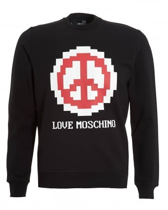 Mens Pixelated Peace Sign Sweatshirt, Slim Fit Black Jumper