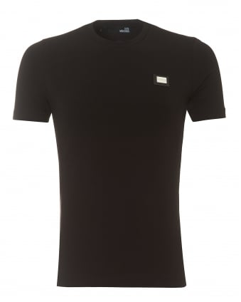Mens Plain Badge T-Shirt, Slim Fit Black Tee
