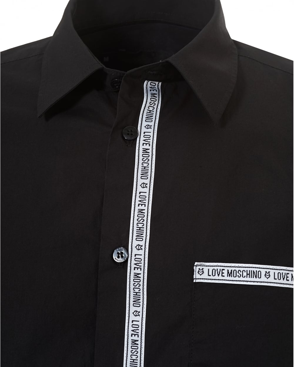 046365f2c57 Love Moschino Mens Repeat Tape Logo Regular Fit Black Shirt