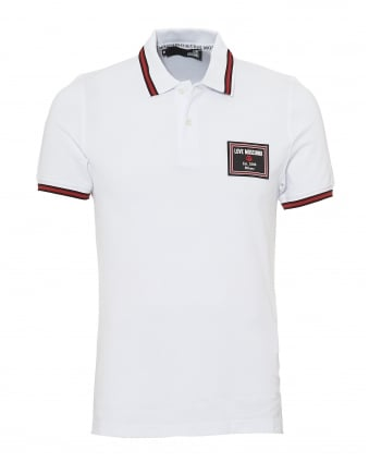 Mens Rubber Badge Polo Shirt, Slim Fit White Polo