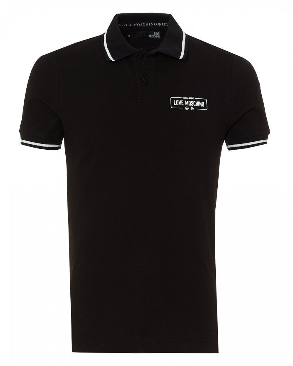1b529c4b03 Love Moschino Mens Rubber Logo Polo Shirt, Slim Fit Black Polo