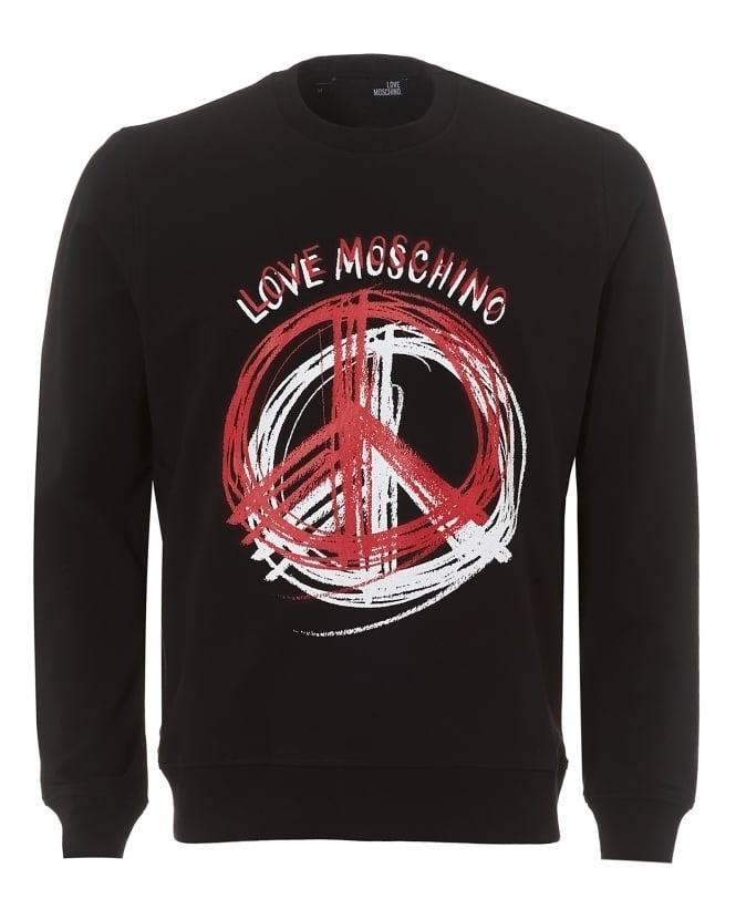 Love Moschino Mens Scribble Sweatshirt, Slim Fit Black Jumper