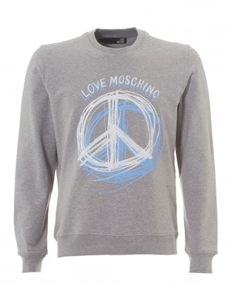 Mens Scribble Sweatshirt, Slim Fit Grey Jumper