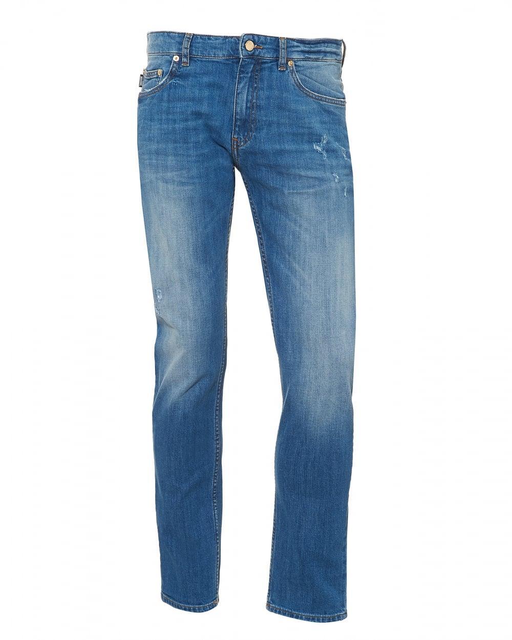 d2c28542 Mens Slim Fit Distressed Jeans, Gold Hardware Light Blue Jeans