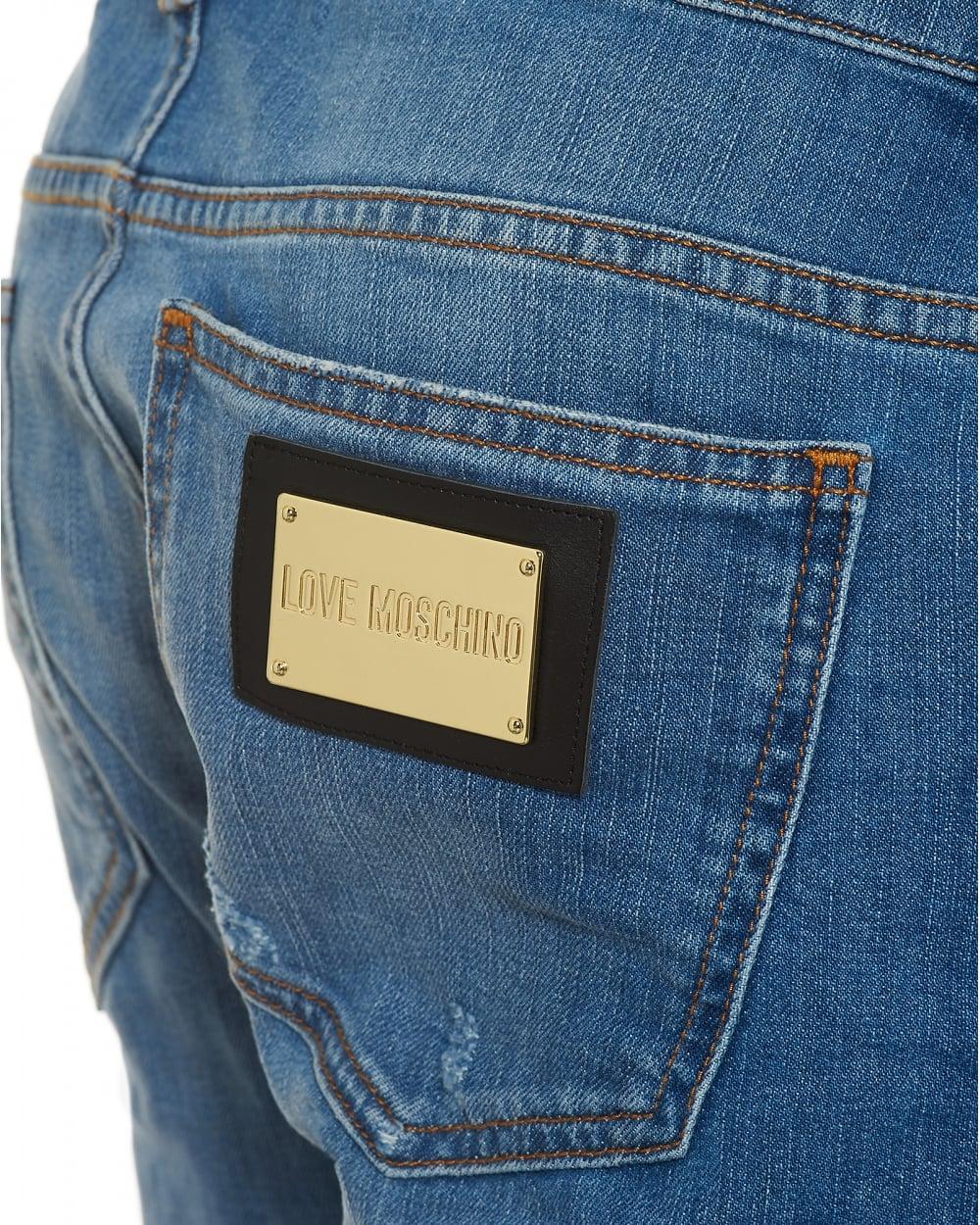 5d70cb0a45 Mens Slim Fit Distressed Jeans, Gold Hardware Light Blue Jeans