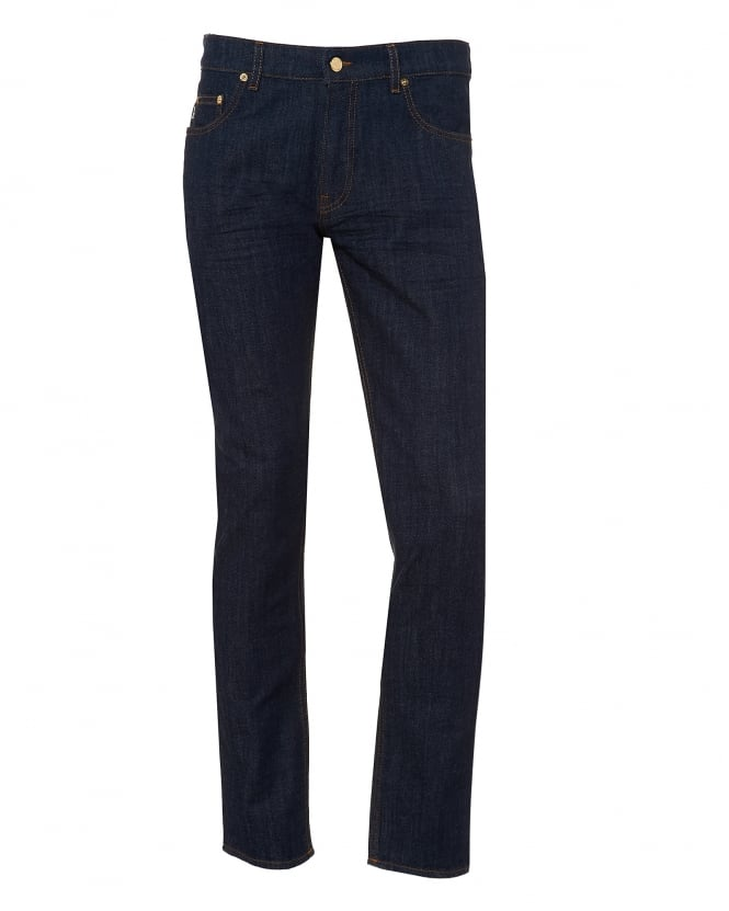 Love Moschino Mens Slim Fit Jeans, Gold Hardware Navy Jeans