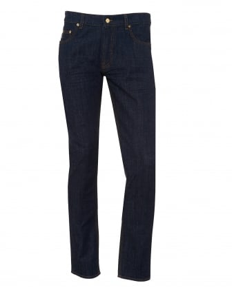 Mens Slim Fit Jeans, Gold Hardware Navy Jeans