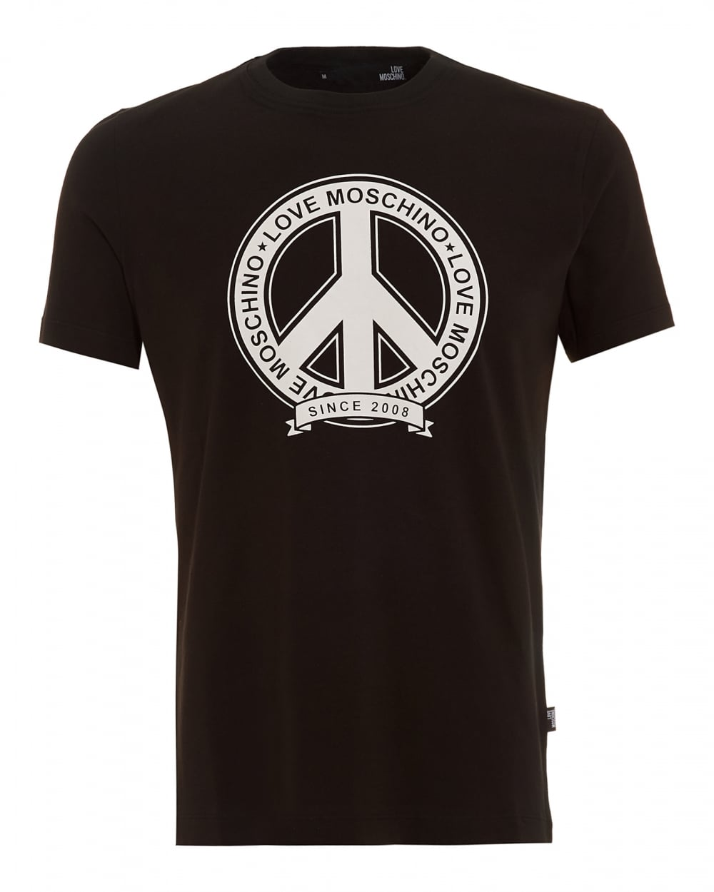 love moschino mens t shirt black peace logo. Black Bedroom Furniture Sets. Home Design Ideas