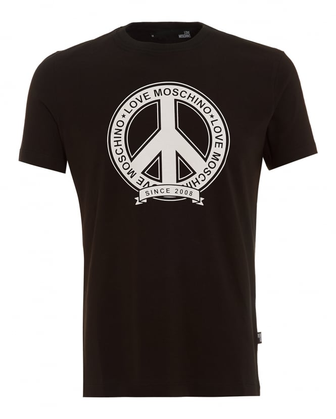Love Moschino Mens T-Shirt, Black Peace Logo