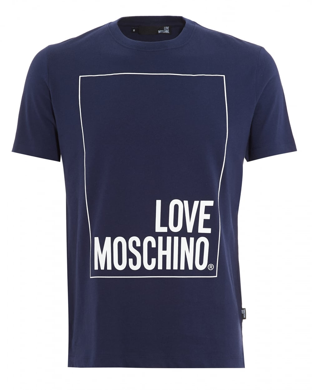 love moschino mens box logo navy t shirt. Black Bedroom Furniture Sets. Home Design Ideas