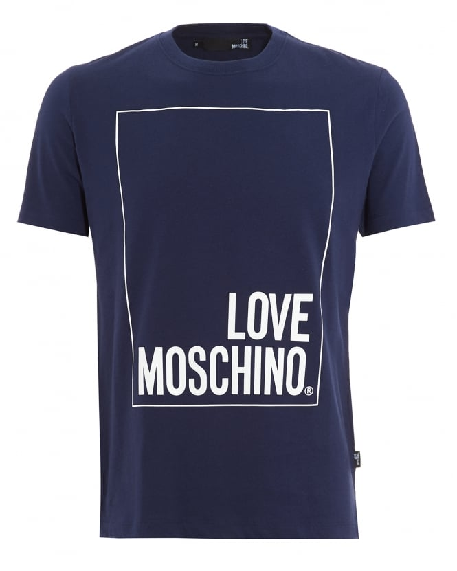 Love Moschino Mens T-Shirt, Box Logo Navy Blue Tee