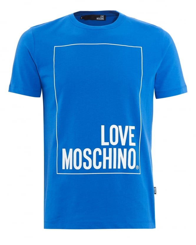 Love Moschino Mens T-Shirt, Box Logo Royal Blue Tee
