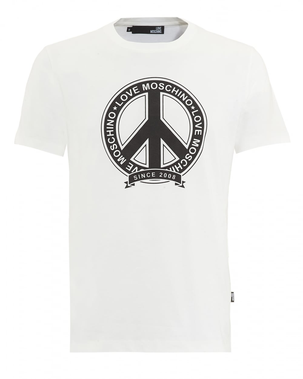 love moschino mens t shirt white peace logo. Black Bedroom Furniture Sets. Home Design Ideas