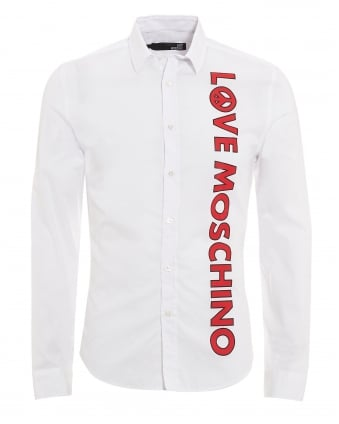 Mens Vertical Logo Shirt, Slim Fit White Shirt