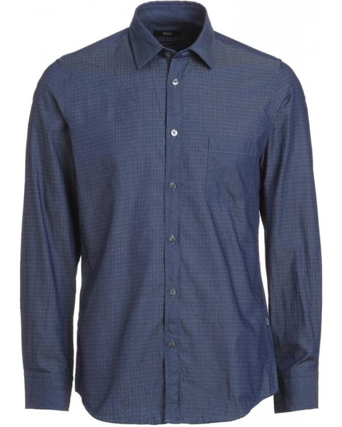 Hugo Boss Black 'Lucas 13' Blue Regular Fit Jacquard Print Denim Shirt