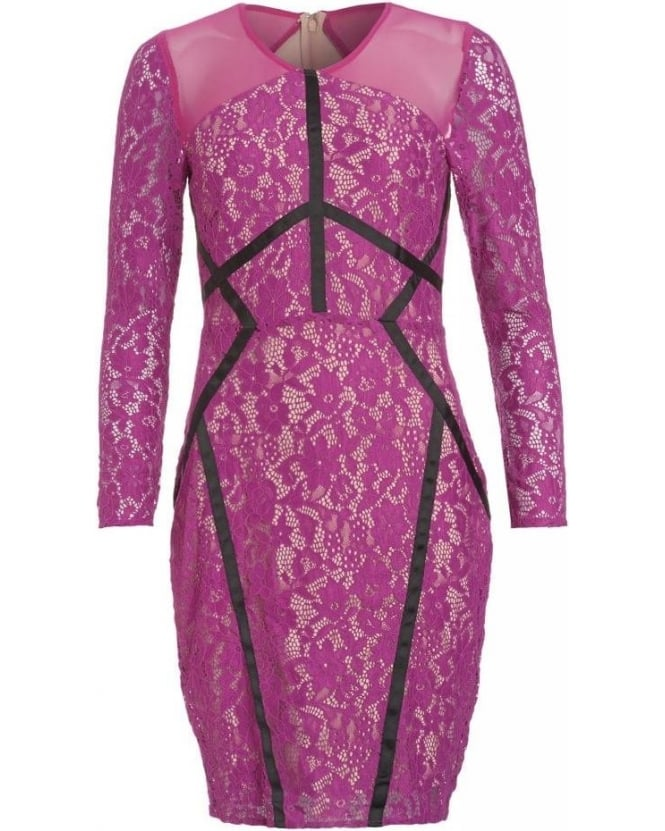 Forever Unique Magenta Lace Fitted Long Sleeve 'Jeannie' Dress