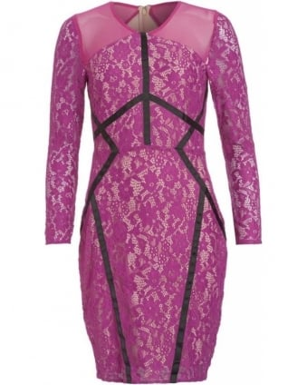 Magenta Lace Fitted Long Sleeve 'Jeannie' Dress
