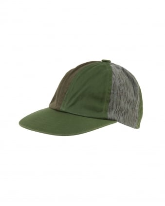 Mens 6 Panel Olive Hat, Green Upcycled Panelwork Military Cap