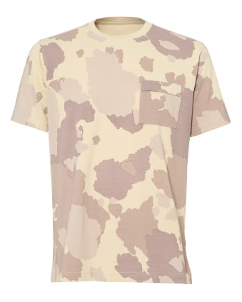 Mens All Over Camo Print T-Shirt, Dusk Pink White Tee