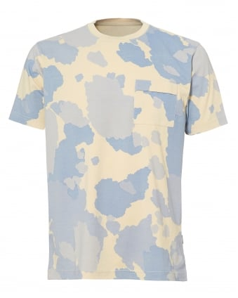 Mens All Over Camo Print T-Shirt, Sky Blue Tee