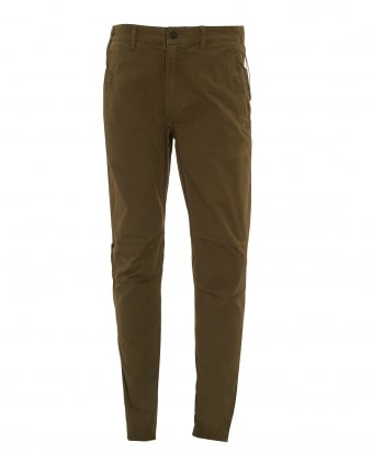 Mens Custom Italian Panama Cotton Olive Green Trousers