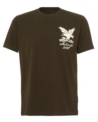 Mens Embroidered Eagle T-Shirt, Olive Green Regular Fit Tee