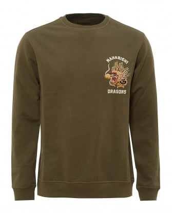 Mens Golden Chest Sweatshirt, Embroidered Dragon Olive Sweat